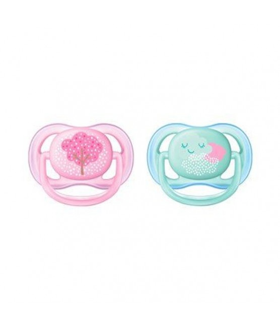 Chupetas Ultra Air Decoradas Rosa e Verde Avent 0-6M