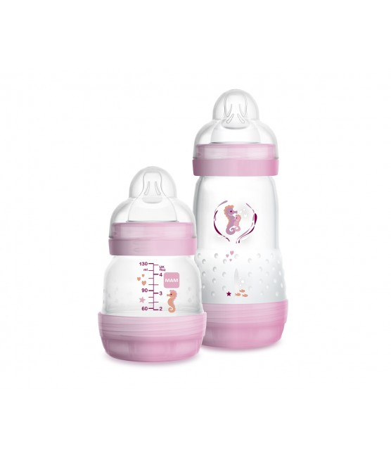 Mamadeira MAM Easy Star Set 130ml e 260ml - Rosa