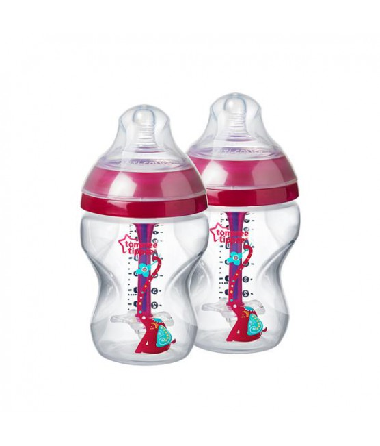 Kit 2 Mamadeiras Advanced Anti Colic Tommee Tippee Elefante Rosa 260 ml