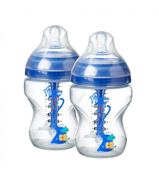 Kit 2 Mamadeiras Advanced Anti Colic Tommee Tippee Elefante Azul 260 ml