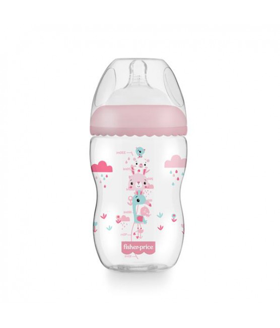 Mamadeira First Moments Rosa Algodão Doce Fisher Price 330 ml
