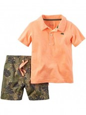 Conjunto Carter's Polo Orange - Menino